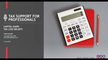 Capital Gains Tax loss Reliefs | BDO Tax Support for Professionals