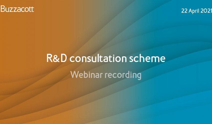 R&D webinar Q&A | R&D consultation scheme
