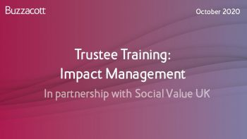 Trustee Training: Impact Management   In partnership with Social Value UK